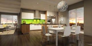 Σύγχρονο εσωτερικό του καθιστικού με την κουζίνα σε ένα σπίτι ή το διαμέρισμα στα γκρίζα χρώματα με τις πράσινες εμφάσεις διανυσματική απεικόνιση
