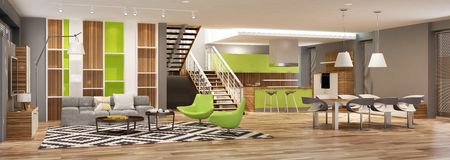 Σύγχρονο εσωτερικό του καθιστικού με την κουζίνα σε ένα σπίτι ή το διαμέρισμα στα γκρίζα χρώματα με τις πράσινες εμφάσεις ελεύθερη απεικόνιση δικαιώματος
