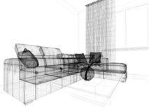 Σύγχρονο εσωτερικό του καθιστικού, τρισδιάστατη απόδοση στοκ εικόνες