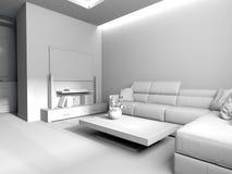 Σύγχρονο εσωτερικό του καθιστικού, τρισδιάστατη απόδοση στοκ φωτογραφία με δικαίωμα ελεύθερης χρήσης