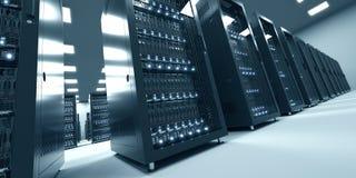 Σύγχρονο εσωτερικό του δωματίου κεντρικών υπολογιστών στο datacenter Σύννεφο που υπολογίζει τη DA Στοκ Φωτογραφία