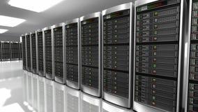 Σύγχρονο εσωτερικό του δωματίου κεντρικών υπολογιστών στο datacenter απόθεμα βίντεο
