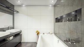 Σύγχρονο εσωτερικό τρισδιάστατο να καταστήσει λουτρών minimalistic, φωτεινός διανυσματική απεικόνιση