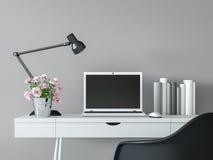 Σύγχρονο εσωτερικό δωματίων εργασίας με τη μαύρη & άσπρη ελάχιστη τρισδιάστατη δίνοντας εικόνα ύφους ελεύθερη απεικόνιση δικαιώματος