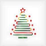Σύγχρονο ελάχιστο υπόβαθρο τέχνης γραμμών χριστουγεννιάτικων δέντρων Στοκ Εικόνες