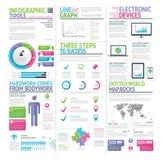Σύγχρονο ζωηρόχρωμο σύνολο infographic διανύσματος στοιχείων διανυσματική απεικόνιση