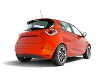 Σύγχρονο ηλεκτρικό αυτοκίνητο hatchback για τα ταξίδια για ένα νέο famil απεικόνιση αποθεμάτων