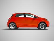 Σύγχρονο ηλεκτρικό αυτοκίνητο hatchback για τα ταξίδια για τη νέα οικογένεια το κόκκινο s ελεύθερη απεικόνιση δικαιώματος