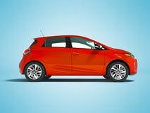 Σύγχρονο ηλεκτρικό αυτοκίνητο hatchback για τα ταξίδια για τη νέα οικογένεια το κόκκινο s διανυσματική απεικόνιση