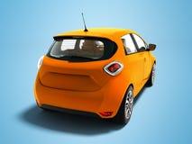Σύγχρονο ηλεκτρικό αυτοκίνητο hatchback με το καφετί εσωτερικό για τα ταξίδια στο τ απεικόνιση αποθεμάτων
