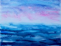 Σύγχρονο ηλιοβασίλεμα θάλασσας τέχνης watercolor αφηρημένο Στοκ Εικόνες