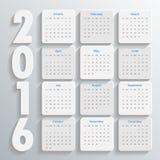 2016 σύγχρονο ημερολογιακό πρότυπο διάνυσμα/απεικόνιση Στοκ εικόνες με δικαίωμα ελεύθερης χρήσης