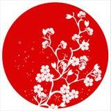 Σύγχρονο ιαπωνικό διάνυσμα προτύπων ανθών κερασιών διανυσματική απεικόνιση