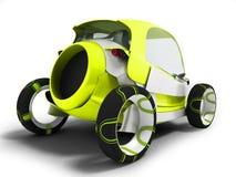 Σύγχρονο κίτρινο ηλεκτρικό αυτοκίνητο για τα ταξίδια στον αερολιμένα για τη μεταφορά διανυσματική απεικόνιση
