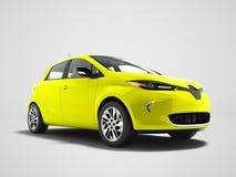 Σύγχρονο κίτρινο ηλεκτρικό αυτοκίνητο για τα ταξίδια στο μπροστινό τρισδιάστατο rende παραλιών διανυσματική απεικόνιση