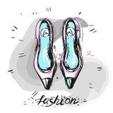 Σύγχρονο καθιερώνον τη μόδα χέρι απεικόνισης μόδας σκίτσων παπουτσιών που σύρεται διανυσματική απεικόνιση