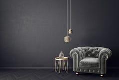 Σύγχρονο καθιστικό με την γκρίζους πολυθρόνα και το λαμπτήρα Σκανδιναβικά εσωτερικά έπιπλα σχεδίου διανυσματική απεικόνιση