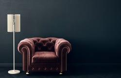 Σύγχρονο καθιστικό με την κόκκινους πολυθρόνα και το λαμπτήρα Σκανδιναβικά εσωτερικά έπιπλα σχεδίου απεικόνιση αποθεμάτων