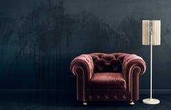 Σύγχρονο καθιστικό με την κόκκινους πολυθρόνα και το λαμπτήρα Σκανδιναβικά εσωτερικά έπιπλα σχεδίου ελεύθερη απεικόνιση δικαιώματος