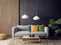 Σύγχρονο καθιστικό με τον καναπέ και το λαμπτήρα Σκανδιναβικά εσωτερικά έπιπλα σχεδίου ελεύθερη απεικόνιση δικαιώματος