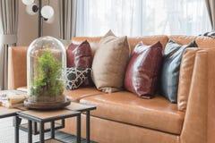 σύγχρονο καθιστικό ύφους με το σύγχρονο καφετή καναπέ Στοκ Φωτογραφία