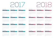 σύγχρονο και καθαρό επιχειρησιακό ημερολόγιο του 2018 του 2017 Στοκ Εικόνα