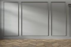 Σύγχρονο κλασικό γκρίζο κενό εσωτερικό με τις επιτροπές τοίχων και το ξύλινο πάτωμα στοκ φωτογραφία
