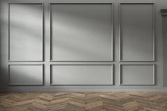 Σύγχρονο κλασικό γκρίζο κενό εσωτερικό με τις επιτροπές τοίχων και το ξύλινο πάτωμα στοκ εικόνα