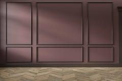 Σύγχρονο κλασικό κόκκινο, marsala, burgundy κενό εσωτερικό χρώματος με τις επιτροπές τοίχων, τα σχήματα και το ξύλινο πάτωμα στοκ εικόνα