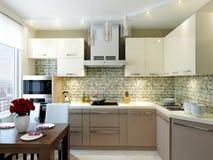 Σύγχρονο κομψό και πολυτελές εσωτερικό σχέδιο κουζινών στοκ φωτογραφίες
