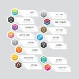 Σύγχρονο κουμπί εμβλημάτων με τις κοινωνικές επιλογές σχεδίου εικονιδίων Διάνυσμα άρρωστο Στοκ Φωτογραφία