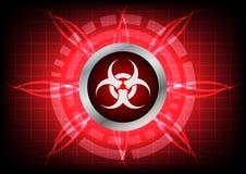 Σύγχρονο κουμπί τεχνολογίας biohazard και ελαφριά επίδραση στην κόκκινη πλάτη Στοκ Φωτογραφίες