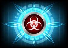 Σύγχρονο κουμπί τεχνολογίας biohazard και ελαφριά επίδραση στην μπλε ΤΣΕ Στοκ Φωτογραφίες