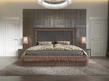 Σύγχρονο κρεβάτι πολυτέλειας στο ύφος deco τέχνης με το πάπλωμα και ξύλινο headboard του παρκέ Κρεβατοκάμαρα στα καφετιά χρώματα ελεύθερη απεικόνιση δικαιώματος