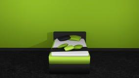 Σύγχρονο κρεβάτι στον πράσινος-Μαύρο ελεύθερη απεικόνιση δικαιώματος