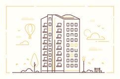 Σύγχρονο κτήριο - διανυσματική απεικόνιση ύφους σχεδίου γραμμών ελεύθερη απεικόνιση δικαιώματος