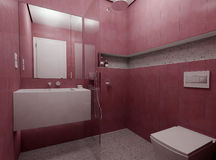 σύγχρονο κόκκινο λουτρώ&nu στοκ φωτογραφίες