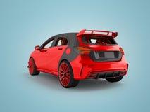 Σύγχρονο κόκκινο σπορ αυτοκίνητο πίσω από τρισδιάστατο δίνοντας το μη μπλε υπόβαθρο με τη σκιά ελεύθερη απεικόνιση δικαιώματος