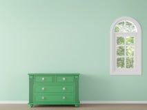 Σύγχρονο κλασικό κενό δωμάτιο με την πράσινη τρισδιάστατη δίνοντας εικόνα χρώματος ελεύθερη απεικόνιση δικαιώματος