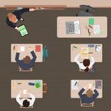 Σύγχρονο μάθημα τάξεων στο σχολείο, το πανεπιστήμιο ή το κολλέγιο Επίπεδο σχέδιο χρώματος Τοπ όψη απεικόνιση αποθεμάτων