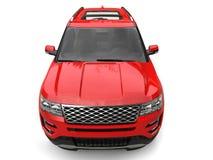 Σύγχρονο μεγάλο κόκκινο SUV - πυροβολισμός κινηματογραφήσεων σε πρώτο πλάνο ελεύθερη απεικόνιση δικαιώματος