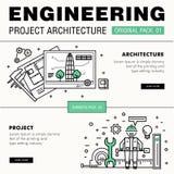 Σύγχρονο μεγάλο πακέτο κατασκευής εφαρμοσμένης μηχανικής Λεπτά εικονίδια γραμμών archit Στοκ Εικόνες