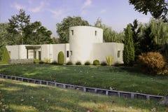 Σύγχρονο μινιμαλιστικό εξωτερικό σχέδιο απεικόνισης κτηρίου τρισδιάστατο απεικόνιση αποθεμάτων