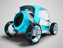 Σύγχρονο μπλε ηλεκτρικό αυτοκίνητο για τα ταξίδια στον αερολιμένα για τη μεταφορά π διανυσματική απεικόνιση