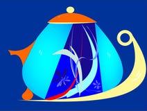 Σύγχρονο μπλε πορτοκαλί teapot Στοκ Εικόνες