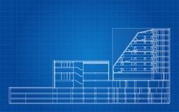 Σύγχρονο ξενοδοχείο που χτίζει το αρχιτεκτονικό σχεδιάγραμμα ελεύθερη απεικόνιση δικαιώματος