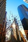 Σύγχρονο οικονομικό εμπορικό κέντρο αμερικανικού ονείρου που εξετάζει ευθύ επάνω τους πύργους αύξησης και τον μπλε σύγχρονο ουραν στοκ φωτογραφία