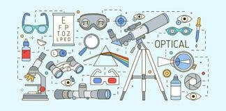 Σύγχρονο οριζόντιο πρότυπο εμβλημάτων Ιστού με τις συσκευές οπτικών, διορθώσεων όρασης, τα εργαλεία ophtalmic και οπτικής οξύτητα Στοκ εικόνες με δικαίωμα ελεύθερης χρήσης