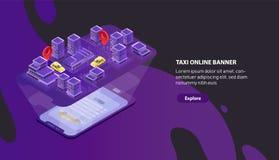 Σύγχρονο οριζόντιο πρότυπο εμβλημάτων Ιστού με το χάρτη πόλεων προβολής smartphone με την ένδειξη θέσης αυτοκινήτων ταξί isometri απεικόνιση αποθεμάτων