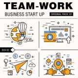Σύγχρονο πακέτο εργασίας ομάδων Λεπτές επιχειρησιακές εργασίες εικονιδίων γραμμών Στοκ Εικόνα